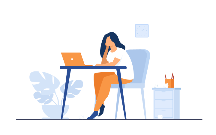 Illustration of overwhelmed woman therapist sitting at desk